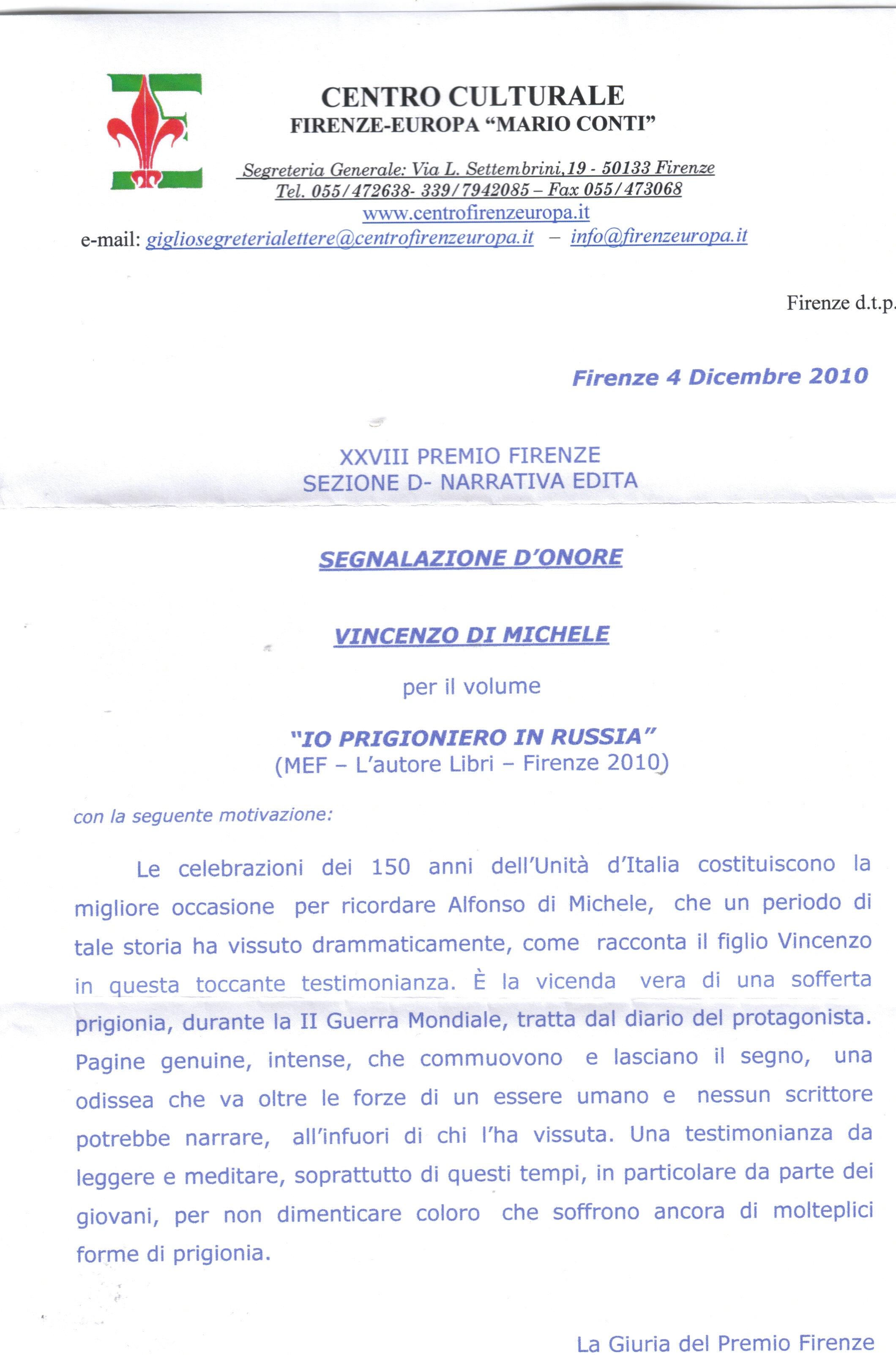 Segnalazione-d-onore-per-libro-Io-Prigioniero-in-Russia-al-premio-Firenze-2010