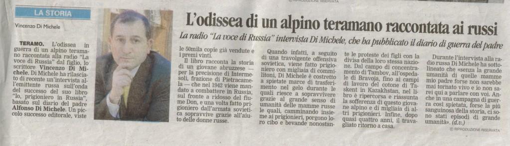 """Dal giornale """"Il Centro"""":  L'odissea di un alpino Teramano raccontata ai Russi"""