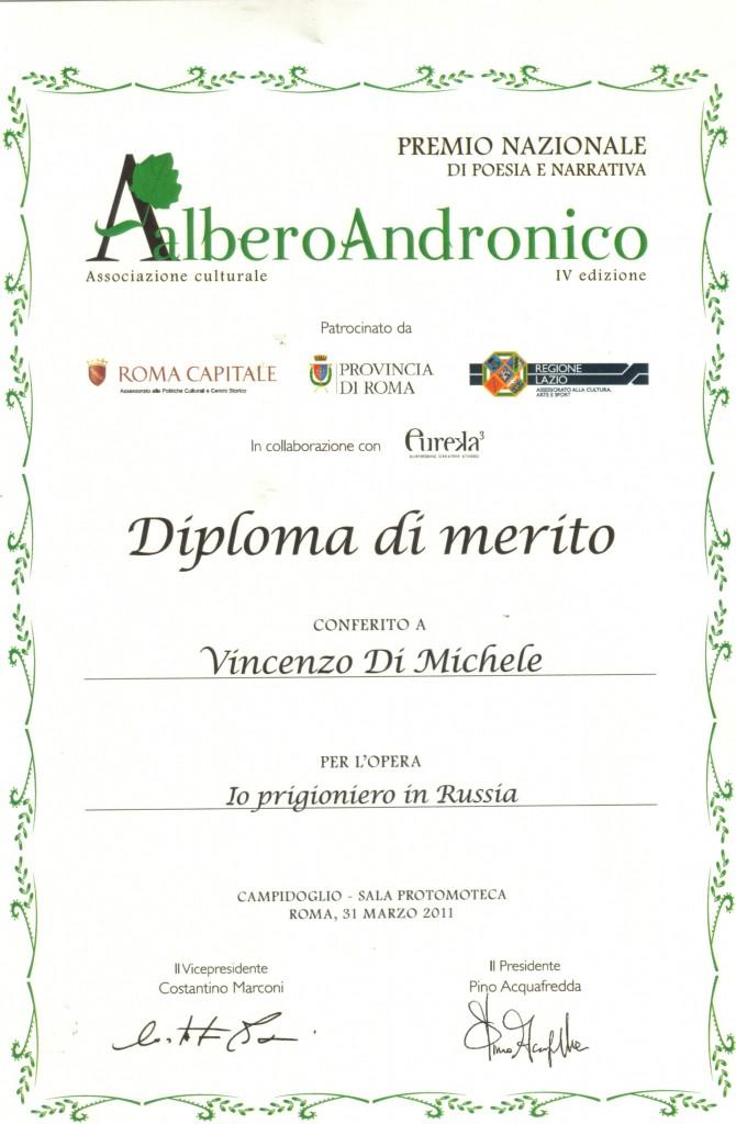 """Premio """"Albero Andronico 2010"""", Diploma di merito per Vincenzo Di Michele"""