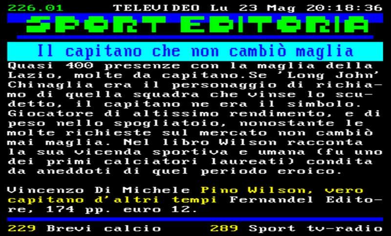 """La pagina di Televideo RAI  dedicata al libro """"Pino Wilson Vero Capitano d""""altri tempi"""" di Vincenzo Di Michele"""